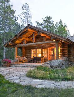 long cabin with stone sidewalk