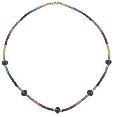 """PearlAura 14 Karat Gold 3-4mm Faceted Roundel Multi Sapphire Station Necklace 18"""", Women's"""