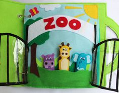 """Custom Quiet Book Page- """"Zoo"""" - Single Page to Expand Your Personalized Quiet Book"""