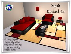 *Lok's* 6 L.I. Mesh Daybed Set with Sits Only (Red/Black)