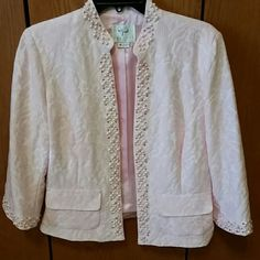 Vision apparel size 10 pink blazer Very cute and more pink than shown in my photos. There is a pearl missing on each cuff. Vision apparel  Jackets & Coats Blazers