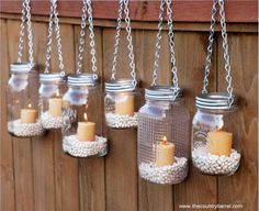Make these without the lid and chain. Decorate the rail of the deck or front porch for summer parties!