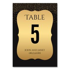 Modern Gold and Black Table Numbers - gold wedding gifts customize marriage diy unique golden