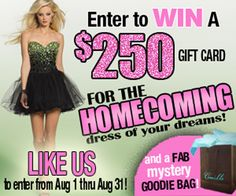Camille La Vie Homecoming 2012 Sweepstakes! Win a free $250 Gift Card and Free MYSTERY goodie bag!     Enter here: http://www.facebook.com/camillelavie.groupusa/app_124506054360939