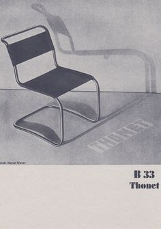 A print of a B 33 tubular steel chair by Marcel Breuer for Thonet, taken from 'Thonet Stahlrohr Mobel', a facsimilie of the original Thonet catalogue for 1930-1931 produced by the Vitra Design Museum in 1989 | Room-606.com