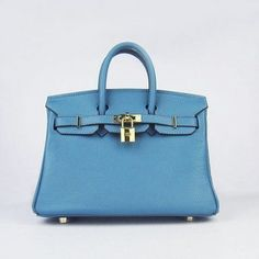 Hermes Birkin 25CM Blue handbag Gold Hardware, replica designer handbags
