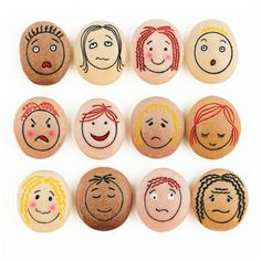 Emotion Pebbles: These tactile stones are engraved with faces showing 12 different emotions. Durable for use in sand and water and outdoors allows children to explore emotions across diverse environments. : Happy, sad, angry, frightened, worried, surprised, confused, bored, calm, proud, shy and embarrassed : Set of 12 : L 45mm