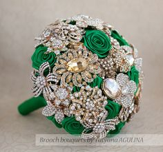 Brooch bouquet. Gold and Emerald wedding brooch bouquet, Jeweled Bouquet. Made upon request