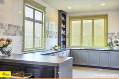 The kitchen can take advantage of all of the wonderful natural light that is streaming into the house. Dining Area, Natural Light, Decorative Items, Creative Ideas, Terrace, Advertising, Relax, Cushions, Wall Decor
