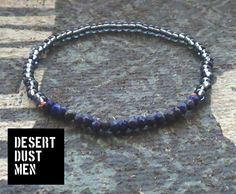Mens bracelet, Blue bracelet for men, Navy blue mens bracelet, Grey blue bracelet for men, Mens blue gray bracelet by DESERTDUSTMEN on Etsy