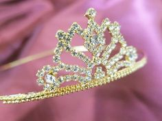 Bridal Rhinestone Crystal Prom Crown Hair Tiara Golden Free Shipping