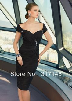 New Elegant Beaded Sheath Knee Length Off Shoulder Sexy Mother of the Bride Dresses Black Chiffon Short FN219 $132.59