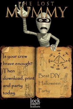 The done-for-you escape room adventure kit that transforms your space into an ancient Egyptian mummy's tomb … complete with puzzling puzzles, mysterious messages, spooky stuff, and ancient organs! Halloween 2020, Halloween Food For Party, Holidays Halloween, Scary Halloween, Vintage Halloween, Halloween Crafts, Happy Halloween, Halloween Decorations, Kids Party Games