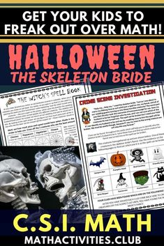 A fun Halloween math activity your students will freaking love! This CSI math activity/worksheet will engage your elementary or middle school students as they use math to figure out the case of the skeleton bride! (multiplication, directions, decimals, &