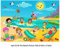 Find Kids Playing On Beach Vector Illustration stock images in HD and millions of other royalty-free stock photos, illustrations and vectors in the Shutterstock collection. Thousands of new, high-quality pictures added every day. Beach Cartoon, Summer Cartoon, Cartoon Pics, Drawing Pictures For Kids, Drawing For Kids, Pictures To Draw, Picture Story For Kids, Composition D'image, Picture Comprehension