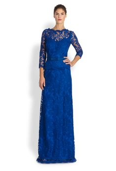 Brides.com: 49 Mother-of-the-Bride Dresses You Can Buy Right Now . Lace peplum gown, $408, Tadashi Shoji available at Saks Fifth Avenue