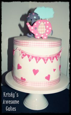 umbrellaphant. pink baby shower cake. pink gingham. umbrella. bunting. extended height @ Kristy's awesome Cakes