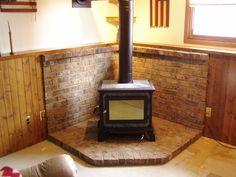 Mason & Chimney Specialists, LLC: Wood burning stove back-wall Wood Stove Wall, Wood Stove Surround, Wood Stove Hearth, Brick Hearth, Fireplace Hearth, Home Fireplace, Wood Burner, Fireplaces, Corner Log Burner