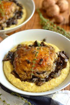 braised chicken thighs with mushrooms and creamy polenta | Brooklyn Homemaker