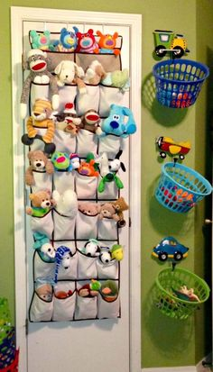 Store stuffed animals in a shoe bag on the inside of a closet door.