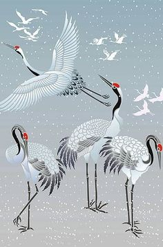 Above and below - all the crane motifs in the Japanese Cranes Stencil Theme Pack. To purchase separately see the Large Flying Cranes, the Large Standing ...