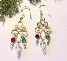 Gold Christmas Chandelier Earrings with Clear, Green and Red Bicone Beads Gold Chandelier Earrings, Gold Earrings, Drop Earrings, Pearl Beads, Crystal Beads, Crystals, Christmas Earrings, Christmas Jewelry, Wire Wrapped Jewelry