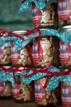 Animal Cookies in Mason Jars as party favors