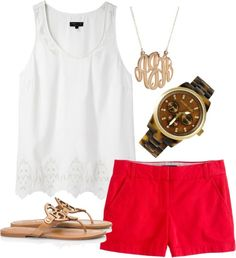 Red shorts white tank Torys and monogrammed necklace. Check out Dieting Digest. Outfit