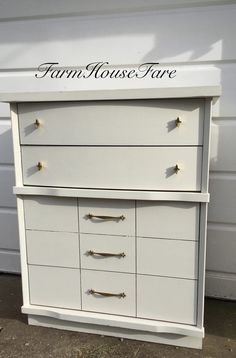 White Painted Dresser Chalk Paint Mid Century Modern Vintage Bedroom Furniture Mod Style Chest of Drawers Farm House Fare