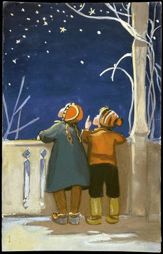 Vintage Martta Wendelin Winter Art ~ Little kids stargazing ~ Orange Accents Vintage Christmas Cards, Christmas Art, Vintage Cards, Vintage Illustration, Winter Illustration, Jolie Photo, Vintage Children, Art For Kids, Martini