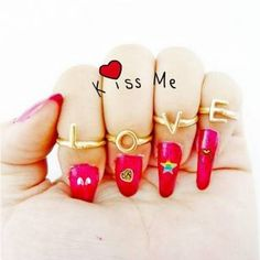 4Pcs Punk Letter LOVE Alloy Knuckle Rings For Women at Banggood - Banggood Mobile