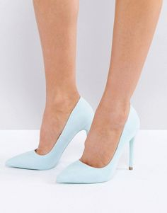 adb9550db6e7 Public Desire Baby Blue Pointed Pumps - Blue Womens Boots On Sale