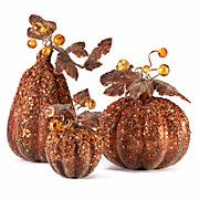 Beaded Pumpkins & Gourds @ Z Gallerie for Fall 2011 Foam Pumpkins, Glitter Pumpkins, Painted Pumpkins, Modern Holiday Decor, Stylish Home Decor, Fall Home Decor, Thanksgiving Decorations, Halloween Decorations, Thanksgiving Ideas