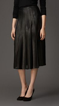 Pleated Leather Skirt   Burberry
