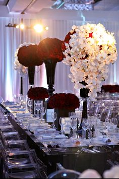 Luxe wedding reception - lucid chairs - red rose ball centerpieces with cascading orchids Long Table Wedding, Luxe Wedding, Red Wedding, Wedding Blog, Wedding Planner, Wedding Ideas, Wedding Stuff, Wedding Colors, Red And White Wedding Decorations