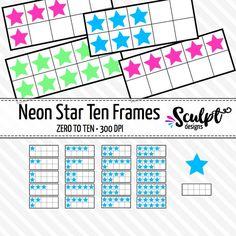 Neon star ten frames clip art.
