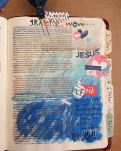 Did a second page this afternoon. Hebrews 6:19. We have an anchor in the storms of life. Jesus the High Priest who has gone before us and intercedes on our behalf before the Father.  God has made a vow to me and it is binding. God always keeps His promises and so I can know without a doubt that Jesus is there for me no matter what I'm going through. #makingmyBiblepretty #illustratedfaith #biblejournaling #first5 by krista_simplycreating