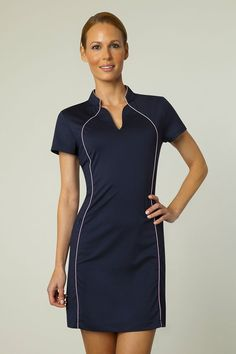 Check out this #golf dress from the new collection by EP Pro. We love the neckline and the pink detail running along the sides. Want it? Check it out and more from the new collection at #pinksandgreens!