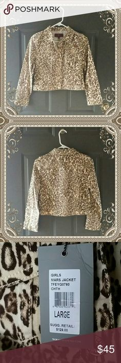 "7 for all mankind girls jacket  size Large Adorable leopard print jacket.  Four pockets on the front. Bright gold buttons and zippered sleeves.  Cotton and spandex.  15.5 "" from armpit to armpit.  18 "" from the shoulder to the hem  21.5 sleeve length 7 For All Mankind Jackets & Coats Jean Jackets"