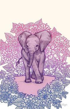 Cute Baby Elephant in pink, purple & blue