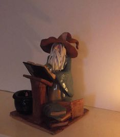 "Hand crafted sculpture ""The Wizard's Office"" studious wizard with Crystal ball, books & Incense Burner Cauldron"