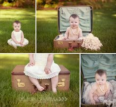 Colleen Christina Photography 6 month outdoor session| Vintage suitcase| Minneapolis, MN