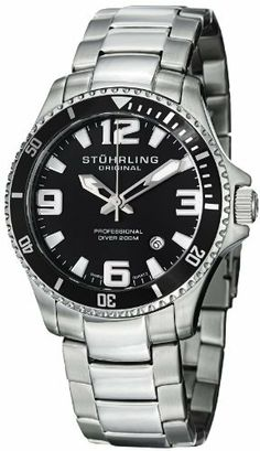 Stuhrling Original Men's 395.33B11 Aquadiver Regatta Champion Professional Diver Swiss Quartz Date Black Bezel Watch Stuhrling Original. $69.99. Stainless steel triple row link bracelet. Water-resistant to 200 M (660 feet). Protective krysterna crystal on front. Black matte finish dial with applied Luminous filled Arabic numerals and markers. Stainless steel round shaped case with black unidirectional ratcheting bezel and printed arabic numerals
