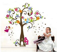 Wandtattoo Wandsticker Wandbilder Fee auf Bunte Baum für schlafzimmer Wohnzimmer Kindergarten Baby SUNNICY http://www.amazon.de/dp/B00OFTX46E/ref=cm_sw_r_pi_dp_2fKNwb14V2NAQ