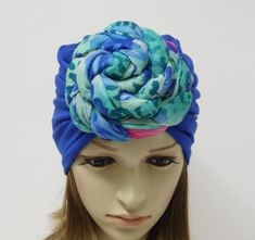 Royal blue turban, large knot turban, rosette turban hat for women, top knotted turban, front knotted turban, donut turban, fashion turban by AccessoriesforByRita on Etsy Bad Hair Day Hat, Turban Fashion, Turban Hat, Head Accessories, Crochet Baby Booties, Cute Woman, Top Knot, Cute Tops, Hats For Women