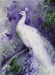 White Peacock Painting by Zaira Dzhaubaeva