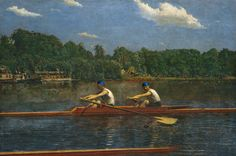 """REALISM~Thomas Eakins: """"The Biglin Brothers Racing,"""" 1872- Tension of rowing vs. serenity of nature"""