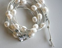 White luminous Pearls and leather wrap by LibertyOriginals on Etsy