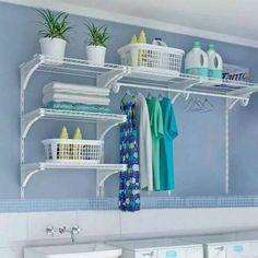 small laundry room organization ideas Double the Function - Room Design Small Laundry Room Organization, Room Organization, Home, Laundry Closet, Tiny Kitchen, Hanging Racks, Room Shelves, Basement Laundry, Room Design