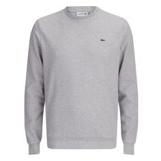 Lacoste Men's Brushed Pique Sweatshirt - Chine (2,615 MXN) ❤ liked on Polyvore featuring men's fashion, men's clothing, men's hoodies, men's sweatshirts, grey, mens clothing, mens apparel and lacoste mens clothing